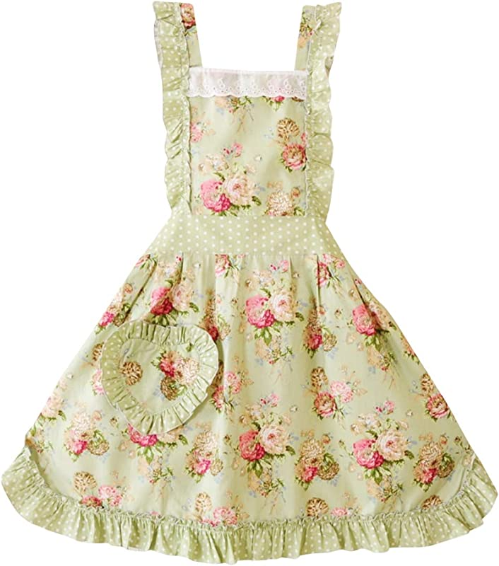 CRB Fashion Womens Cooking Baking Apron Ladies Woman Kitchen Chef Aprons With Pocket Green Floral