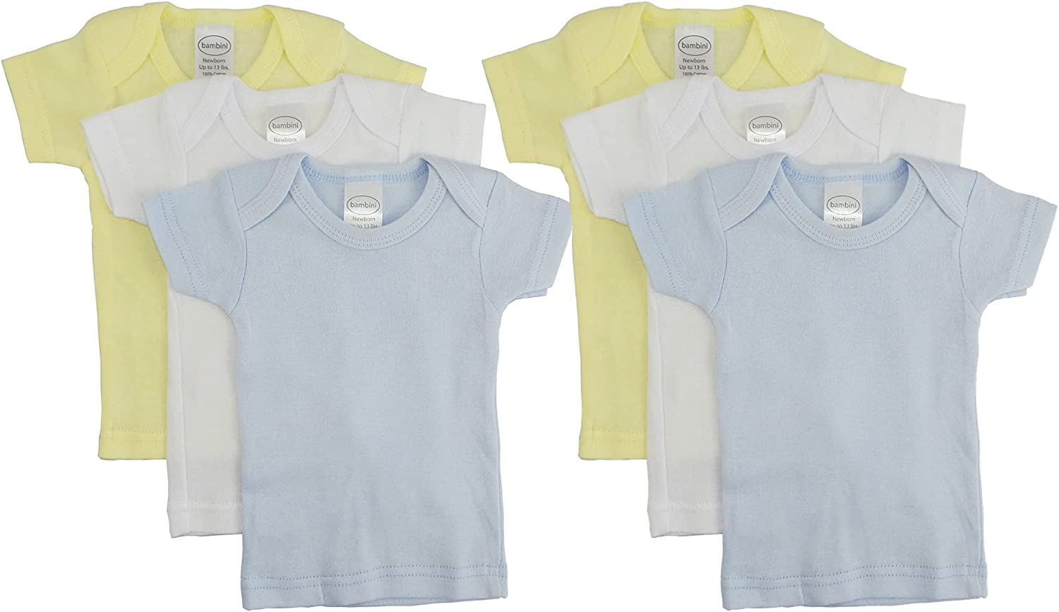 Unisex Baby Short & Long Sleeve Tee Shirts, 100% Cotton for Variety Packs of 3-Pack/ 6-Pack (Newborn (0-6 Months/up to 13 lbs.), Short-Sleeve_6-Pack_Pastel_for Boy)