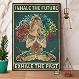 Placa de metal para decoración de pared con diseño de chica hippie Inhale Future Exhale Past Lover Yoga Bar Daughter Pink Room Decor Painting Metal Plate 20,3 x 30,5 cm