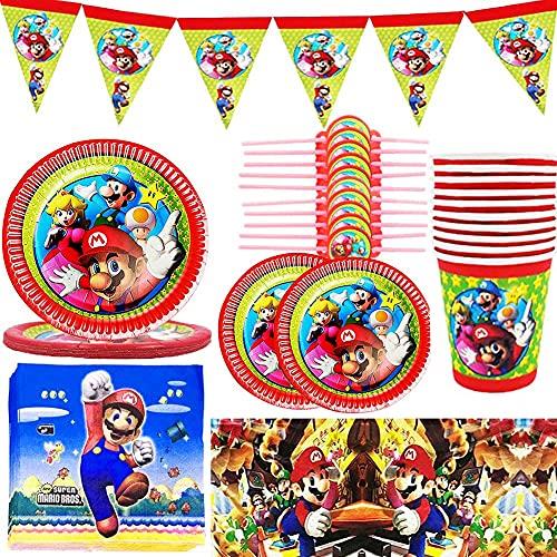 PAWT Super Mario Platos Tazas Servilletas Cubiertos Banner Mantel Vajilla de cumpleaños Kit de decoración, para 10 Invitados Fiesta de cumpleaños