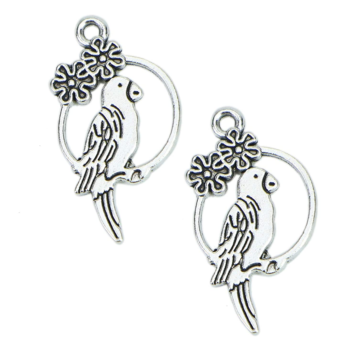 Monrocco 100Pcs Antique Silver Parrot Charms Pendants Alloy Animal Charms for Jewelry Making and Crafting