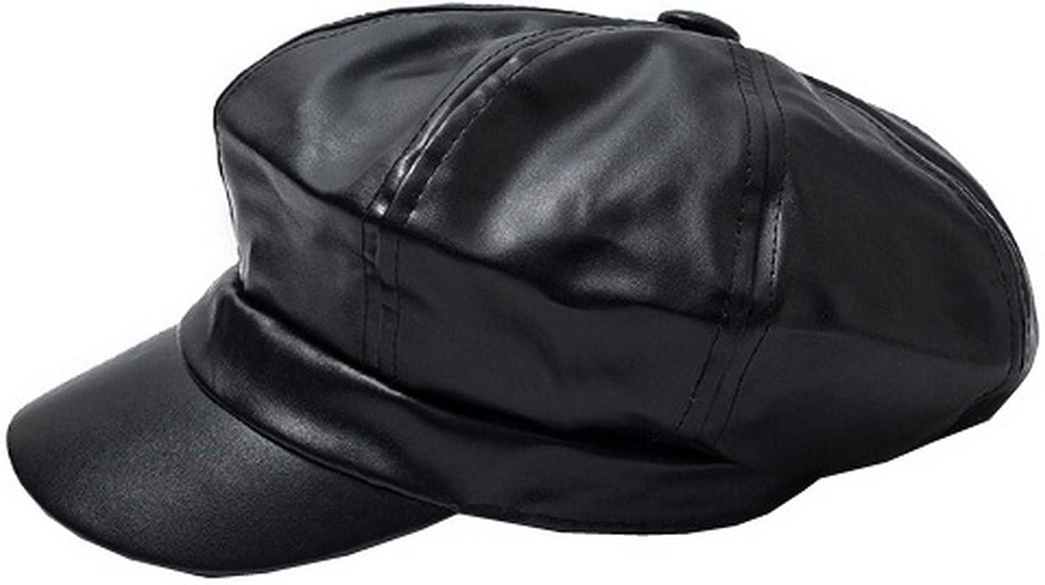 Women Topics on TV PU Leather Newsboy Cabbie Peaked Vintage B Baker Cap Beret Credence
