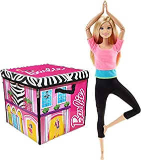 Bundle Includes 2 Items - Barbie ZipBin 40 Doll Dream House Toy Box & Playmat and Barbie Made to Move Barbie Doll, Pink Top