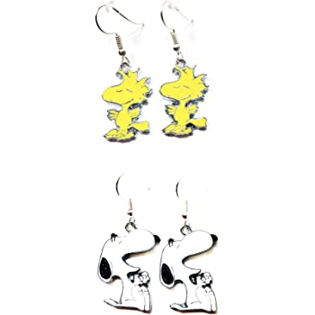 Peanuts inspired Snoopy Head Character Charm Metal Drop Dangle Hook Earrings With Gift Box