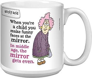 Tree-Free Greetings Extra Large 20-Ounce Ceramic Coffee Mug, Aunty Acid Funny Faces