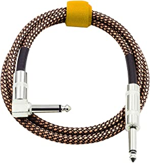 Hemobllo 2pcs Instrument Cable Straight to Right Bass Cable for Bass Keyboard Electric Guitar - Black Orange Braided Woven Jacket (3M)
