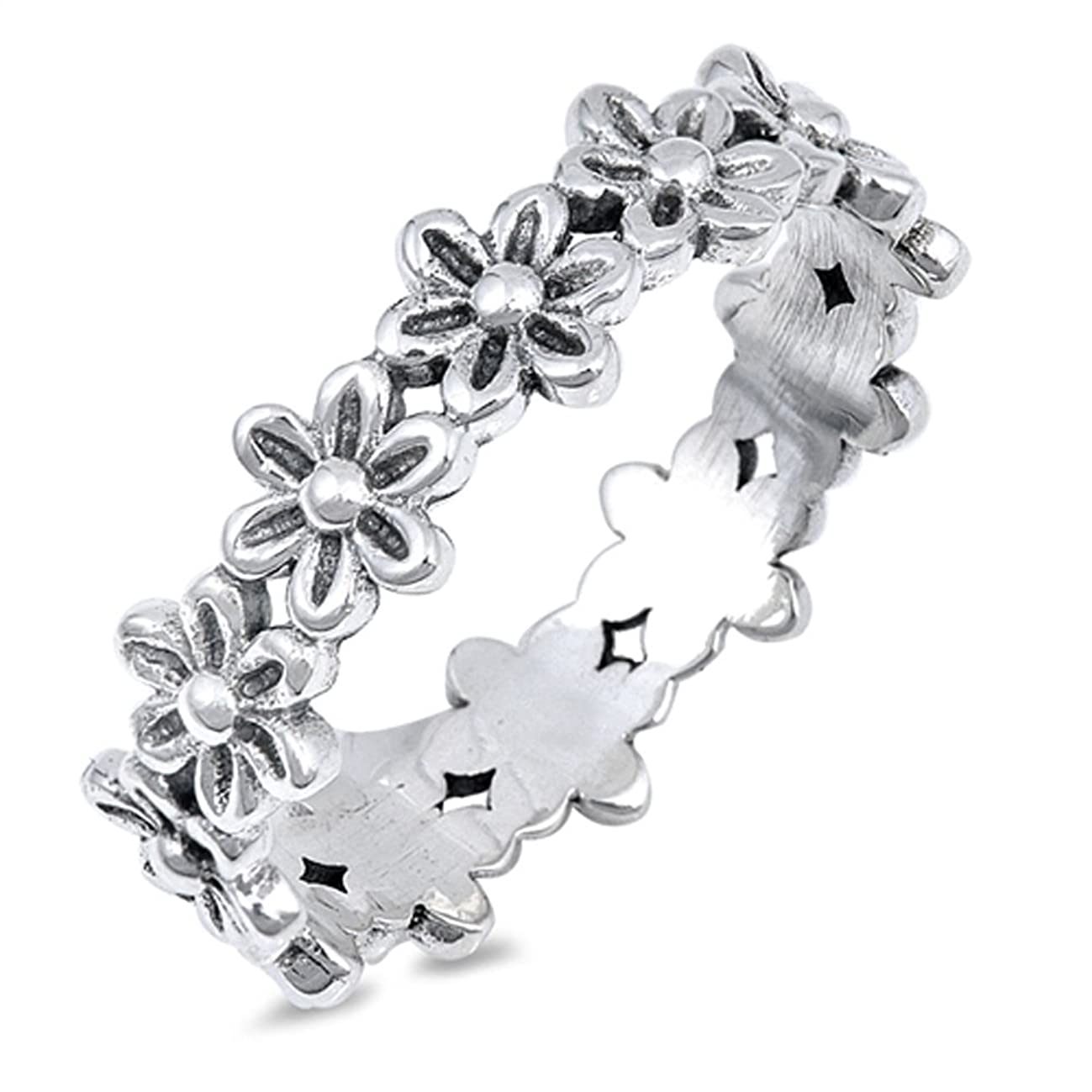 Plumeria Flower Eternity Promise Ring .925 Sterling Silver Daisy Band Sizes 4-10