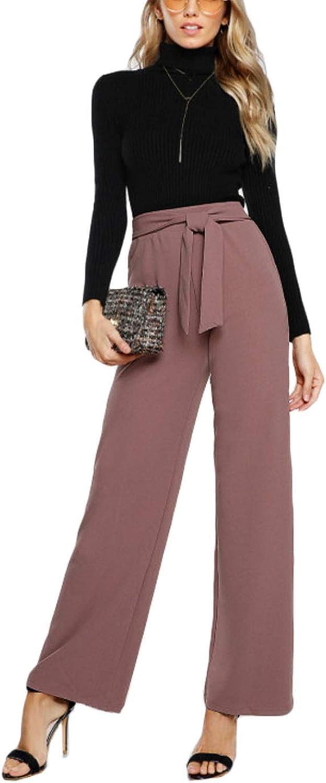 PursuitofselfCA Tie Waist Palazzo Pants Pink Elegant High Waist Pants Autumn Trousers