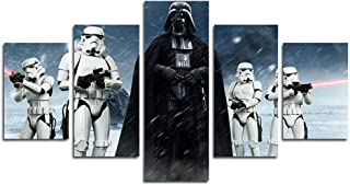 5 Pieces Star Wars Darth Vader Canvas Wall Art Painting for Home Living Room Office Mordern Decoration,B,20x35cmx2;20x45cmx2;20x55cmx1