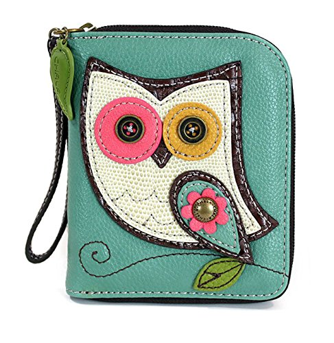 CHALA Zip Around Wallet, Wristlet, 8 Credit Card Slots, Sturdy Pu Leather - Owl - Teal