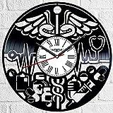 Reloj de pared de vinilo con diseño de medicina, estilo retro, silencioso,...