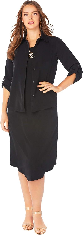Roamans Women's Plus Size Three-Quarter Sleeve Jacket Dress Set with Button Front