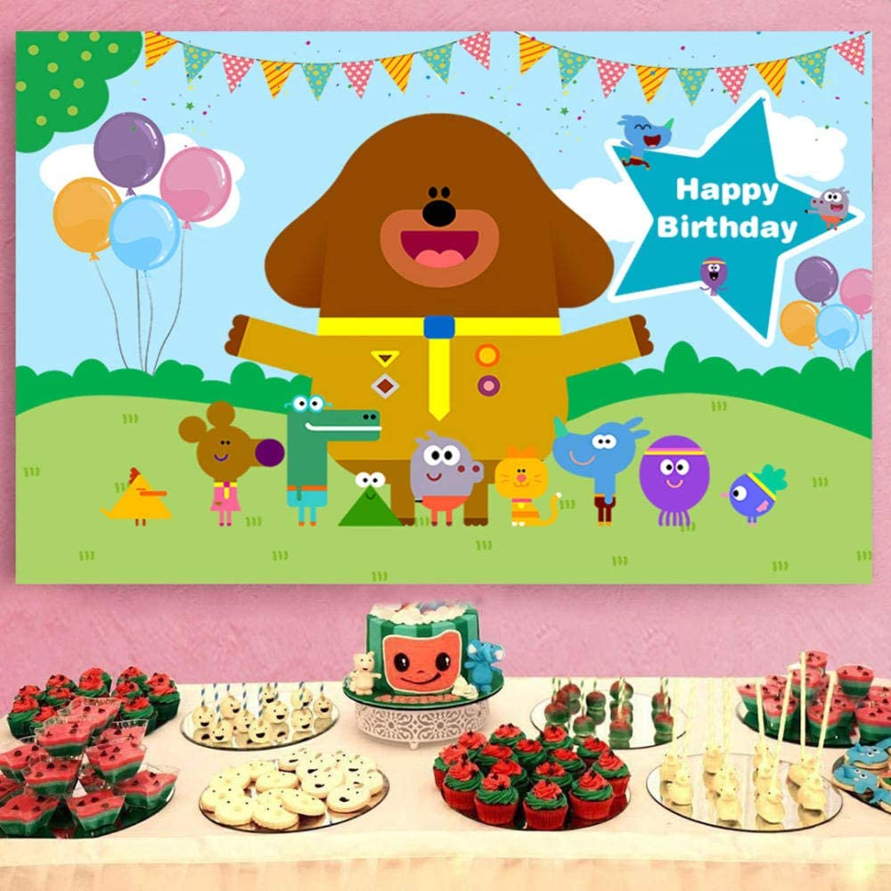 Hey Duggee Birthday Party Supplies Cartoon Backdrop Sky Blue Green Grass Animals Banner for Baby Shower Background Vinyl Banner Birthday for Party Decoration