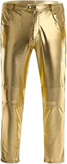 iEFiEL Men Faux Leather Shiny Skinny Moto Biker Tight Pants Long Trousers Clubwear