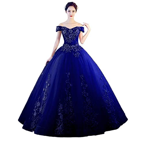 Royal Blue Off The Shoulder Ball Gown Dress: Amazon.com