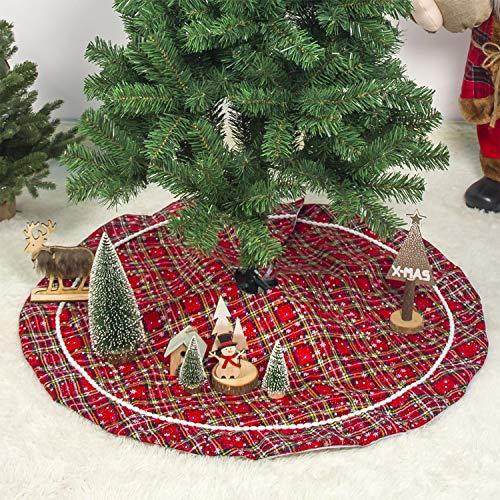 Walant Weihnachtsbaum Decke,Rot und Schwarz Plaid Weihnachtsbaum Rock Decke Christbaumständer Teppich Weihnachtsbaum Röcke für Weihnachts Neujahr Party Urlaub Dekorationen (Plaid)