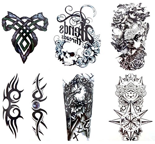 6 sheets large 8.25' temporary arm tattoo wholesale Day of Dead Halloween Sugar Skull crown