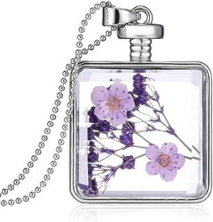 Unicra Fashion Silver Square Dry Flower Pendant Necklace Flower Inside Locket Bottle Necklace for Women
