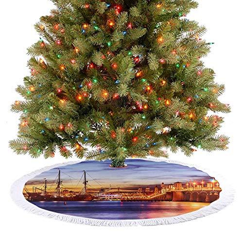 Feliz Navidad falda del árbol de San Agustín Florida famoso puente de leones Sunset majestuoso naranja azul coral decoraciones de Navidad se ve muy bonito debajo del árbol de Navidad – 92 cm