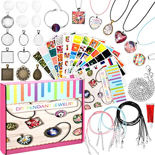 Hicarer Jewelry Making Kit for Girls 18 Jewelry Craft Kit Pendant Necklace and Bracelet Crafting for Teen Girls with Step-by-Step Instructions, 200 Photo Sticker and Craft Supplies