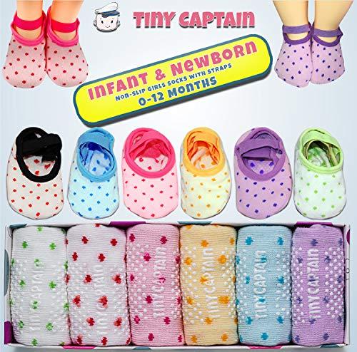 Baby Toddler Girls Grip Socks 1-3 Year Old Anti Slip w/ Strap Socks Girl 1 Yr Old Gift (Rainbow - 6 Pairs, 1-3T)