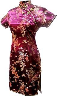فستان سهرة قصير مطبوع عليه تنين عنابي من 7Fairy للنساء Cheongsam