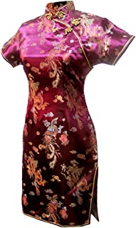 7Fairy Women's VTG Burgundy Dragon Mini Chinese Party Dress Cheongsam