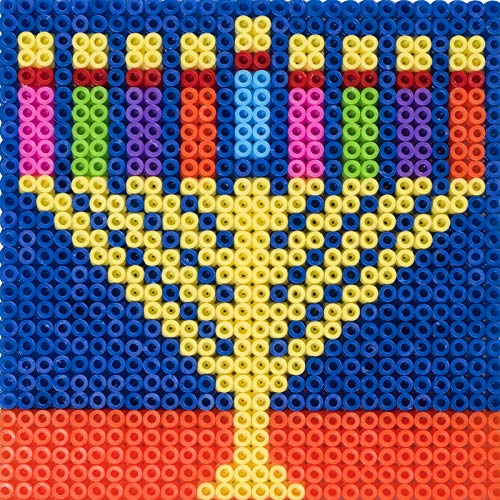 Hammont Chanukah Themed Melty Beads - 6 Pieces - Decorative, Multicolor Hanukkah Themed Melty Beads - Durable & Attractive – Ideal for Decorating Ribbons, Gifts & Fancy Dresses (1 Pack of 6)