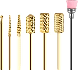 Nail Drill Bit Set, Number-one 7Pcs Gold Tungsten Carbide Nail File Drill 3/32 Inch Work with Most Electric Rechargeable Manicure Machine for Nail Beautify, Nail Polishing, Nail Clear and Care