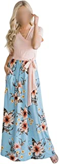 Women's Short Sleeve Sexy Deep V-Neck Floral Long Maxi Dress (Color : Pink, Size : S)
