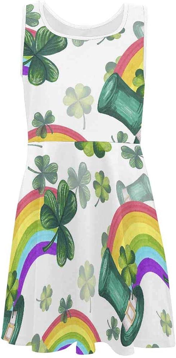 InterestPrint Girls Dress Casual Sleeveless Dress Daily Dress Plaid Pattern with Green Shamrocks (2T-XL)
