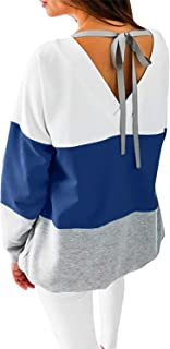 Women's Casual Crew Neck Long Sleeve Shirts Color Block Sweatshirt Blouse Tops