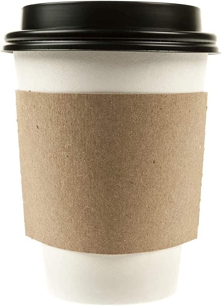 sale 1000 Pack - 10 oz Disposable Cheap mail order shopping Coffee Paper White Black with Cups