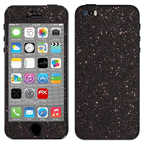 atFolix Skin kompatibel mit Apple iPhone 5S / SE, Designfolie Sticker (FX-Glitter-Black-Sky), Reflektierende Glitzerfolie