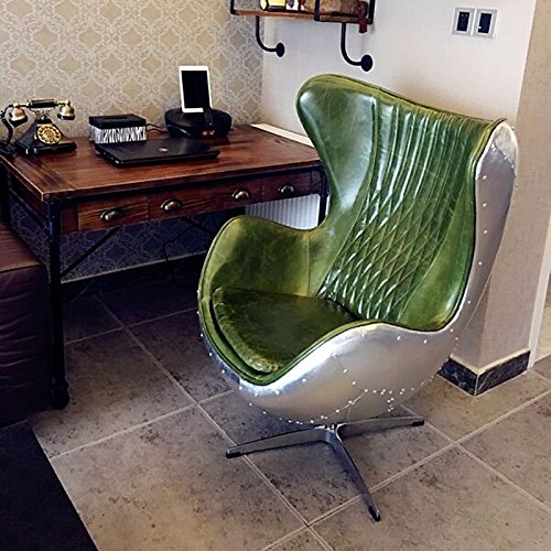 Pre-Orden de cuero verde/aluminio EggChair (réplica) silla giratoria Sillón de aluminio - sillas de club - silla de salón