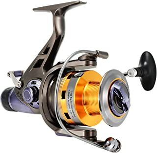 Isafish Spinning Reel for Carp Fishing with Front and Rear Double Drag Brake System Baitrunner Reel 9+1 Stainless Steel BB Left Right Interchangeable for Saltwater Freshwater