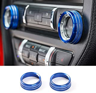 TopDall Blue Aluminum Center Console Volume Tune Knob Cover Ring Trim Interior Accessories Compatible for Ford Mustang 201...