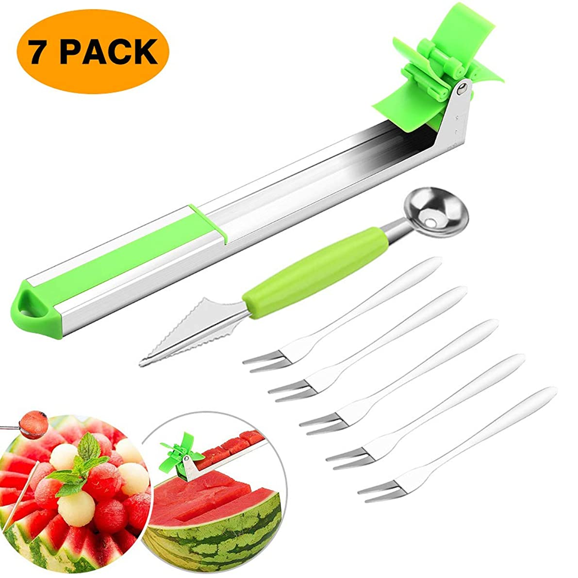 Aitsite Watermelon Slicer Cutter Stainless Steel Watermelon Windmill Cutter Fruit Melon Knife Slicer Corer Tools with Melon Baller Scoop and Fork Kitchen Gadgets