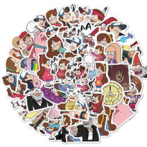 changping Paquete de 50 pegatinas de dibujos animados, diseño de gravedad de las cataratas de PVC, impermeables, para decorar portátiles, portátiles, coches, bicicletas, monopatines, equipaje, etc.