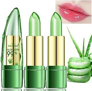 Amazfly 2 Pcs Aloe Vera Lipstick, Clear Jelly Lipsticks, Magic Temperature Color Change Lipstick Lip Blam Moisturizing Long Lasting Lip Makeup (2Pcs)