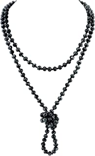Firstmeet Fashion Natural Round Beads 60'' Long Strand Art Deco Necklace for Women Men