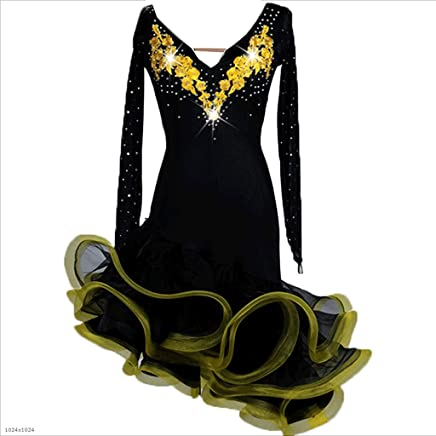 YTS Ladies Professional Latin Dance Competition Dress Chacha Samba Long Sleeve Performance Costume