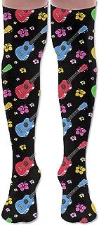 Men Women Colored Music Guitar Premium Knee High Socks Athletic Soccer Crew Tube Sock Stockings Sports Outdoor