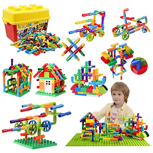 burgkidz 176 Piece Pipe Tube Toy, Sensory Toys, Tube Locks Construction Building Blocks, Educational STEM Building Learning Toys with Wheels Baseplate for All Ages Kids Boys Girls