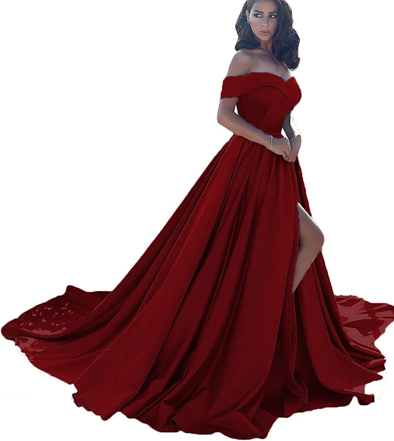 Beilite Vintage Off Shoulder Prom Dress Long A Line Split Party Gown