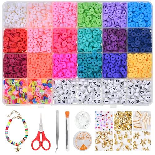 TAPDRA Juguete de Cuentas Coloridas Abalorios Hacer Pulseras Collar de Bricolaje Cuentas de Arcilla de Joyas DIY Manualidad Fabricación de Joyas para Niños Adultas
