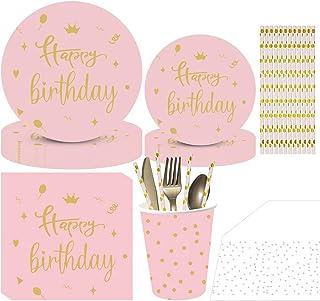 لوازم 161PCS الوردي عيد ميلاد الحزب المتاح أدوات المائدة، والتي تخدم 20 شخصا، لوحات بما في ذلك الورق والقش، المناديل، الكؤ...