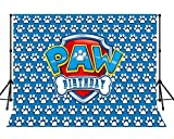 LYLYCTY 7x5ft Birthday Backdrop for Kids Paw Background Themed Photography Backgrounds Party Supplies Blue Backdrops and Three Dimensional White Paw Prints Photo Booth Pops MLYWQ01