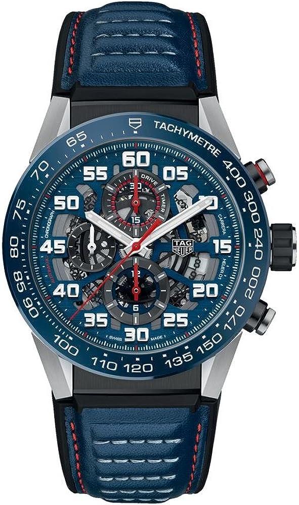 Tag heuer carrera red bull racing, orologio automatico per uomo,  in acciaio rivestito pvd e cinturino in pell CAR2A1N.FT6100