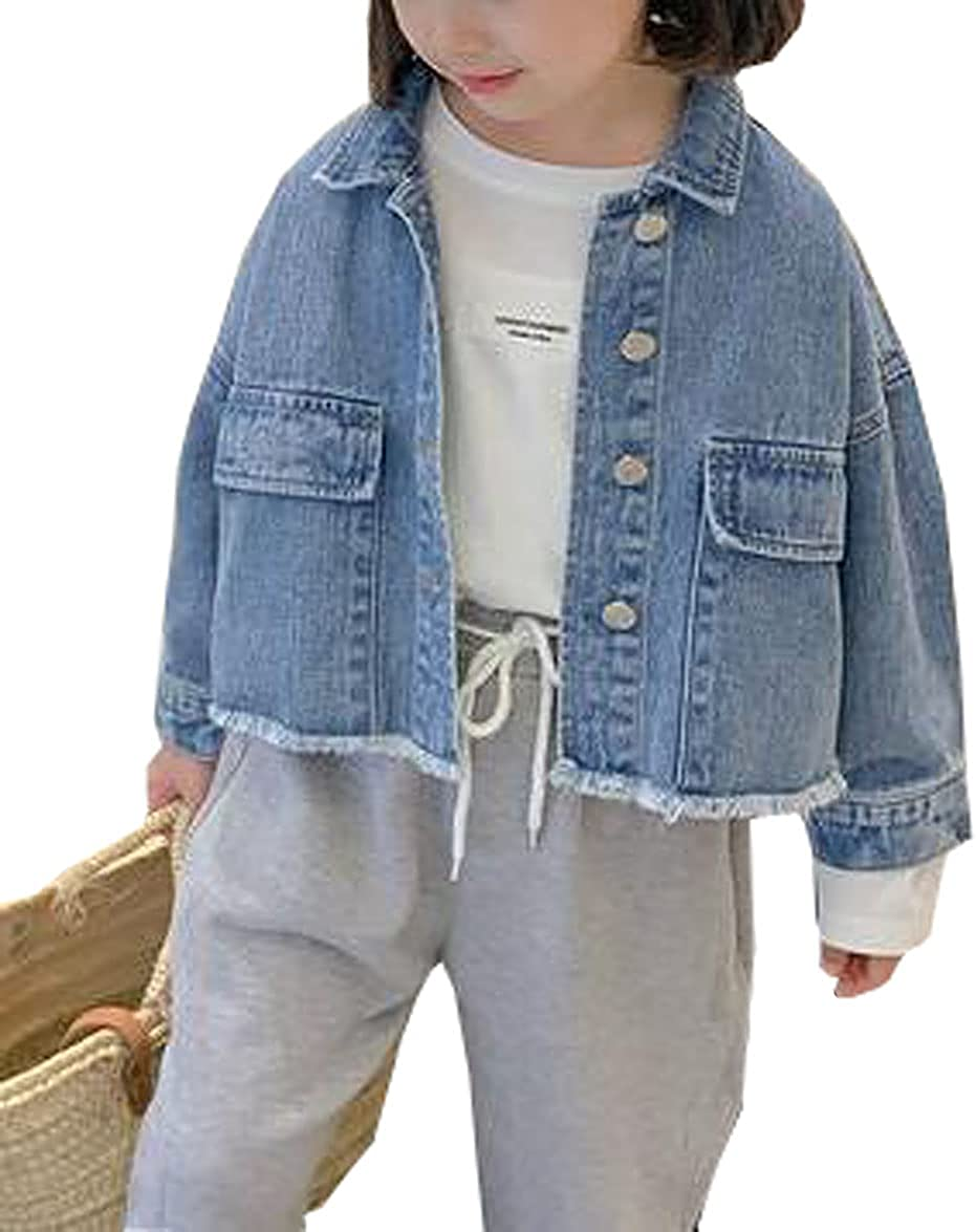 MYtodo Girls Loose Denim Jackets Child Casual Tops Button Down Jean Coat